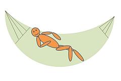 In de hangmat stappen. Stap 4 : Ga liggen en vind de juiste houding.