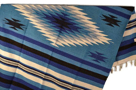 Manta mexicana india azul