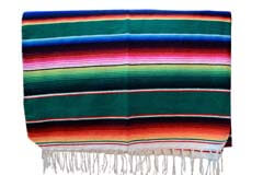 Couverture mexicaine -  Serape - XL - Vert - BBBZZ0green2