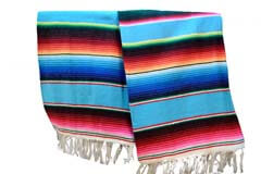 Couverture mexicaine -  Serape - XL - Turquoise