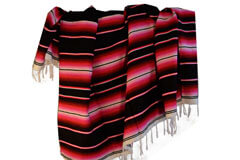 Mexicaanse deken - Serape - XL - Zwart - BBBZZ1blackred2