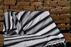 Couverture mexicaine -  Serape - XL - Blanc