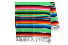 Mexikanische Decke -  Serape - XL - Grün  - BBXZZ0lime