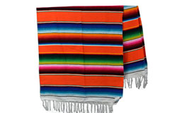 Mexikanische Decke -  Serape - XL - Orange  - BBXZZ0orange1