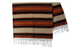 Mexikanische Decke -  Serape - XL - Braun  - BBXZZ1beigegold