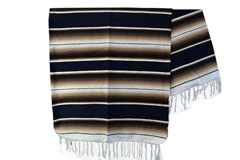 Mexicaanse deken - Serape - XL - Zwart - BBXZZ1blackbrown1