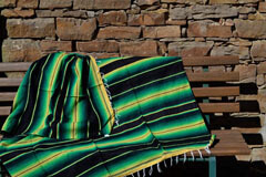 Mexikanische Decke -  Serape - XL - Grün  - BBXZZ1blackgreen