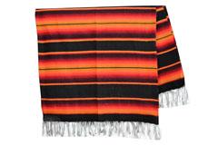 Mexikanische Decke -  Serape - XL - Schwartz  - BBXZZ1blackred1