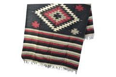Mexicaanse deken - Indianen - L - Zwart - EEEZZ1DGblackred