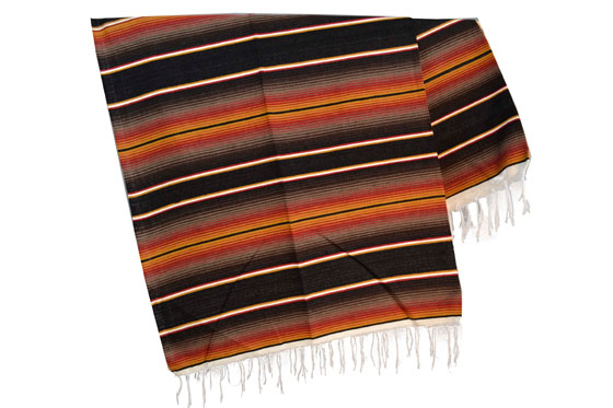 Couverture mexicaine -  Serape - XL - Noir - BBBZZ1blackgold