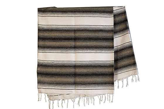 Couverture mexicaine -  Serape - XL - Blanc - BBBZZ2whiteblack