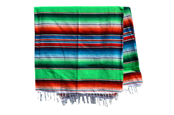 Couverture mexicaine -  Serape - XL - Vert - BBXZZ0green1