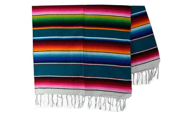 Mexikanische Decke -  Serape - XL - Blau  - BBXZZ0teal1