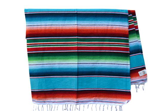 Mexikanische Decke -  Serape - XL - Turkis