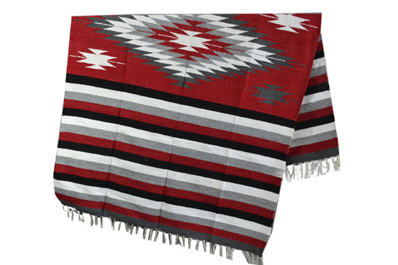 Couverture mexicaine -  Indienne - L - Rouge - EEXZZ1DGredgrey