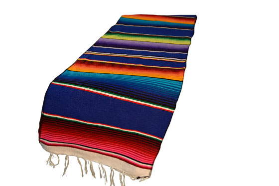 Mexican table blanket, Serape. Blue
