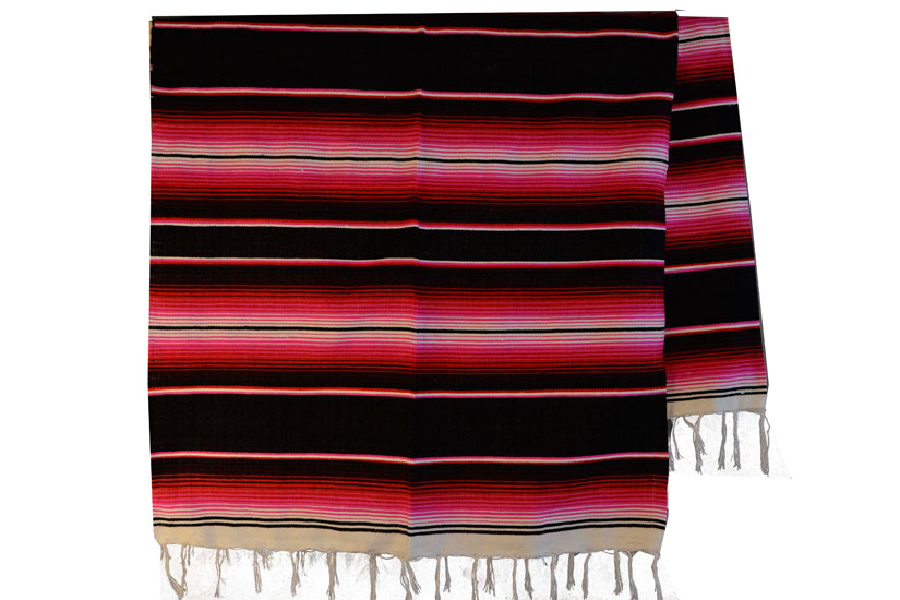 Mexican blanket - Serape - XL - Black - BBBZZ1blackred2
