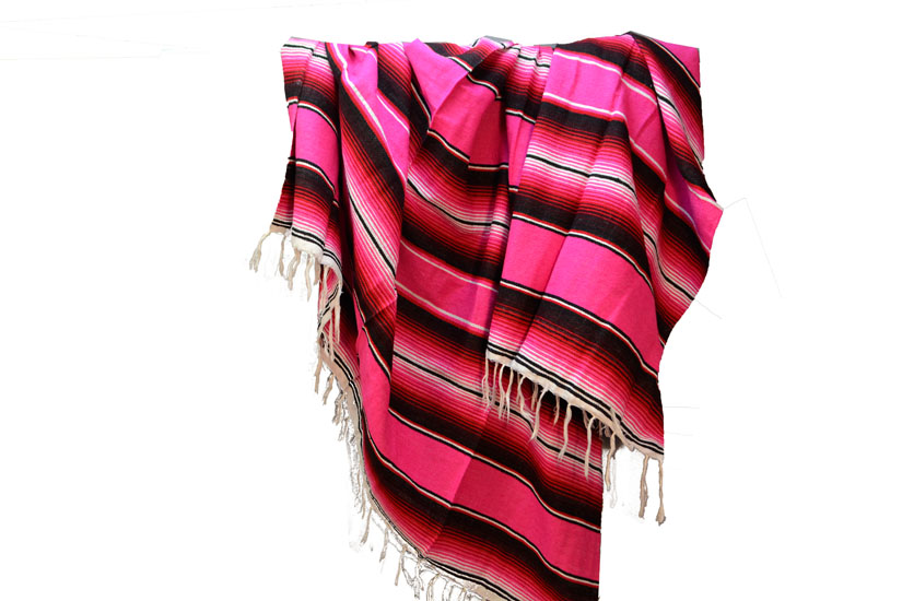 Couverture mexicaine -  Serape - XL - Rose - BBBZZ1pink