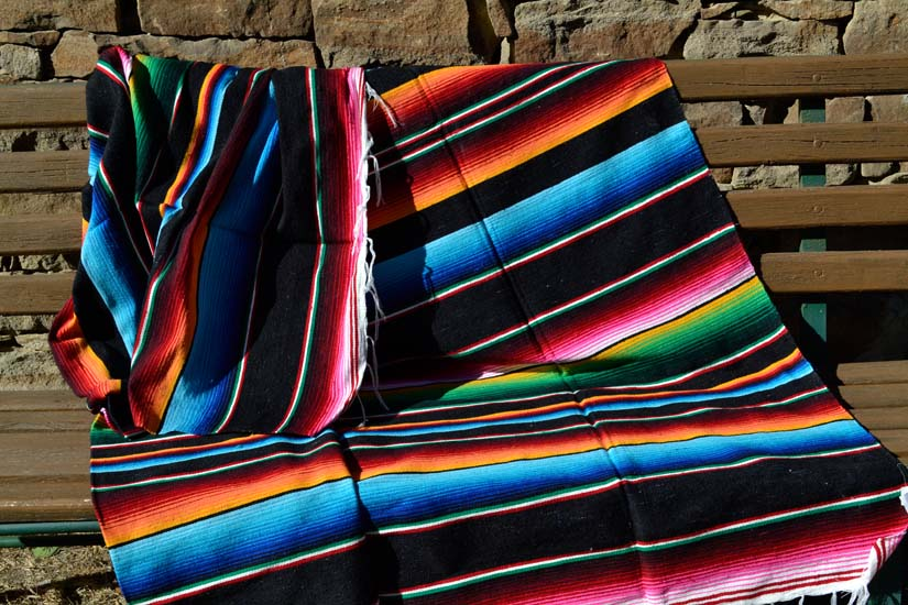 Couverture mexicaine -  Serape - XL - Noir - BBXZZ0black1
