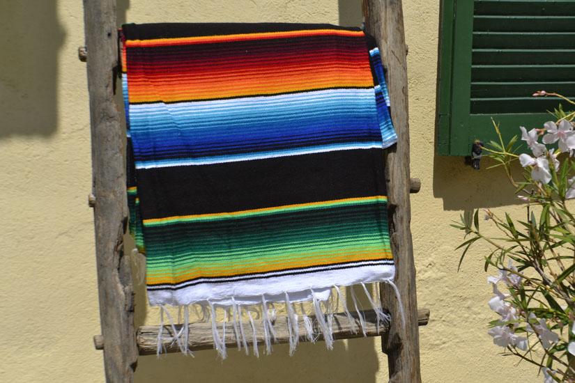 Couverture mexicaine -  Serape - XL - Noir