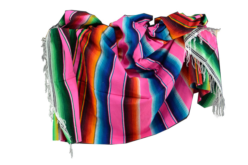 Mexicaanse deken - Serape - XL - Roze - BBXZZ0hotpink1
