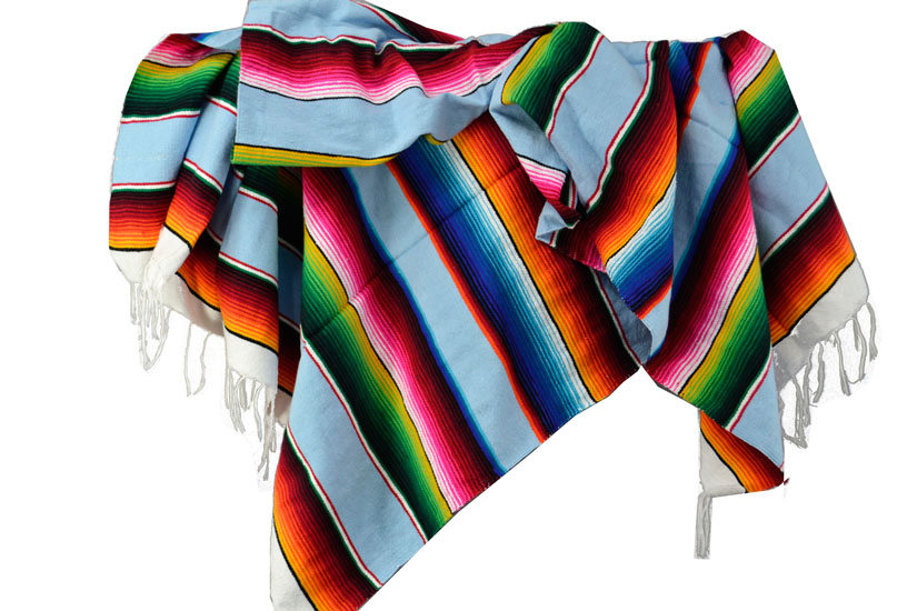 Couverture mexicaine -  Serape - XL - Blue - BBXZZ0lightblu