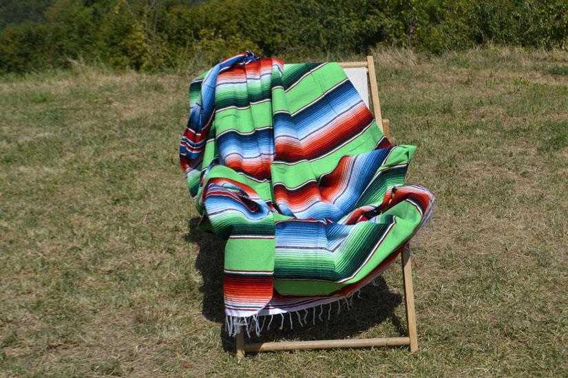 Mexicaanse deken - Serape - XL - Groen - BBXZZ0lime