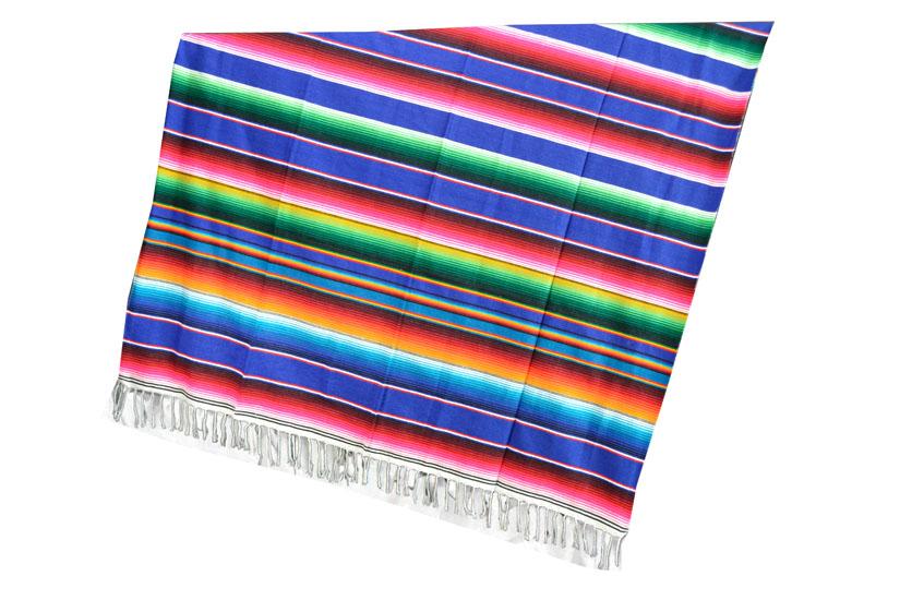Mexikanische Decke -  Serape - XL - Blau  - BBXZZ0royalblu
