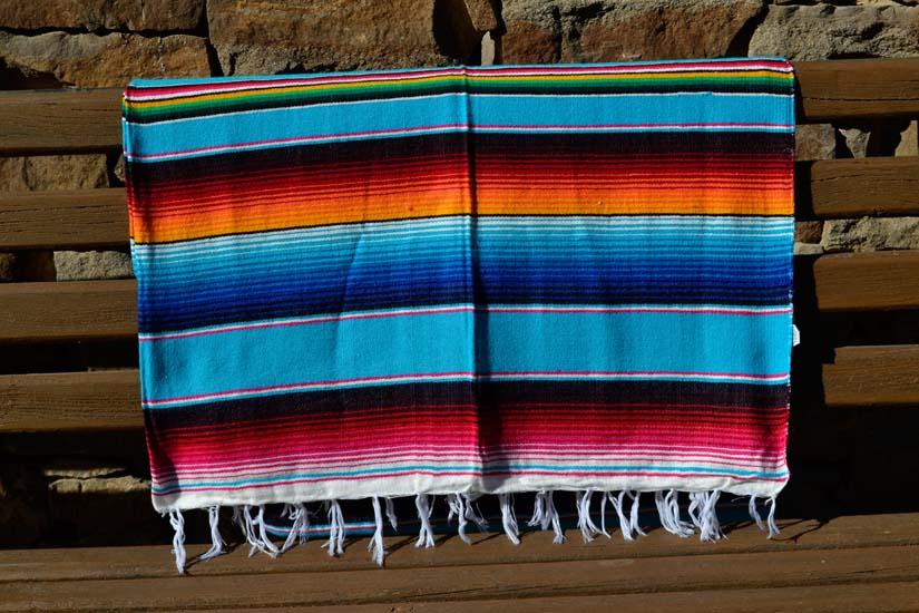 Mexicaanse deken - Serape - XL - Turquoise - BBXZZ0turq1