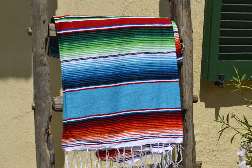 Couverture mexicaine -  Serape - XL - Turquoise - BBXZZ0turq