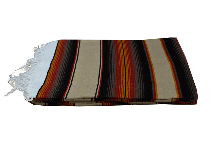 Mexican blanket - Serape - XL - Brown - BBXZZ1beigegold