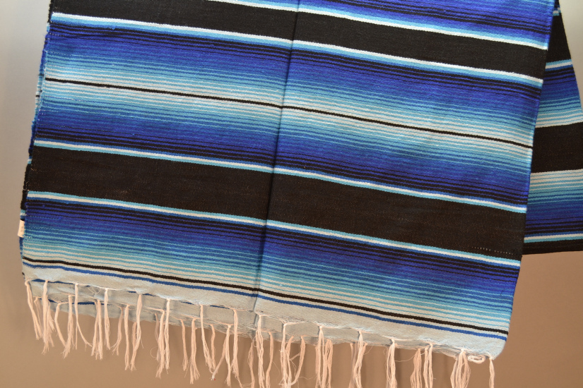 Couverture mexicaine -  Serape - XL - Blue - BBXZZ1blackblu1