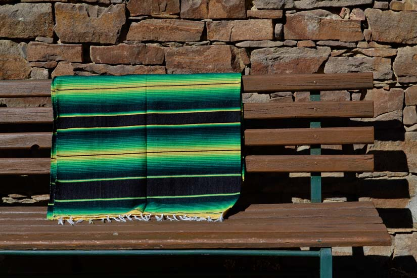 Coperta messicana -  Serape -  XL -  Verde - BBXZZ1blackgreen