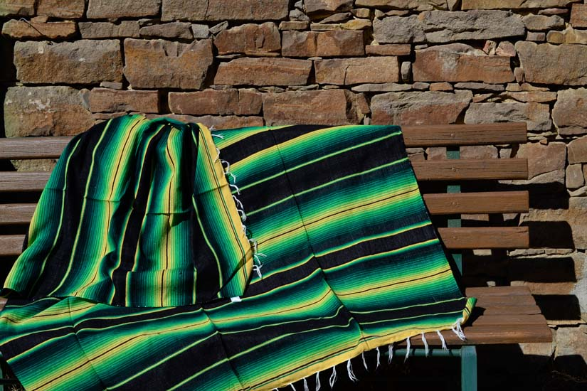 Couverture mexicaine -  Serape - XL - Vert - BBXZZ1blackgreen