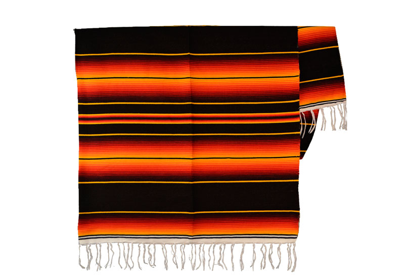 Mexicaanse deken - Serape - XL - Zwart - BBXZZ1blackred