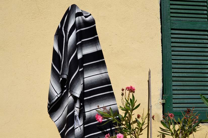 Mexikanische Decke -  Serape - XL - Schwartz  - BBXZZ1blackwhite