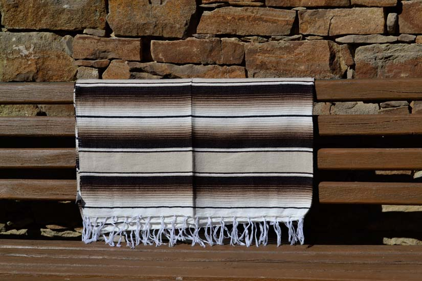 Couverture mexicaine -  Serape - XL - Brun - BBXZZ1natbrown1