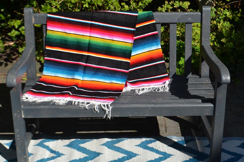 Mexican blanket - Serape - L - Black