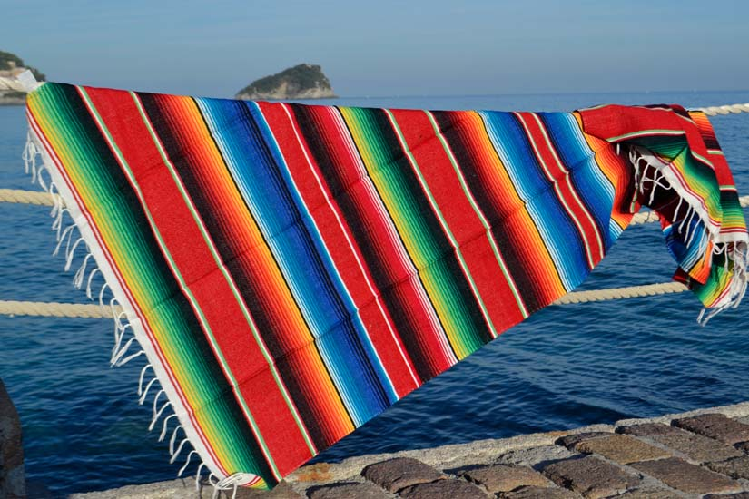 Couverture mexicaine -  Serape - M - Rouge