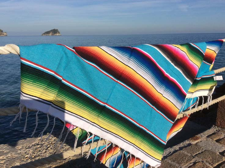 Couverture mexicaine -  Serape - M - Turquoise