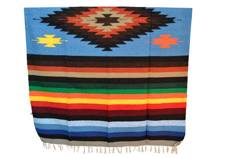 Mexicaanse deken - Indianen - L - Blauw