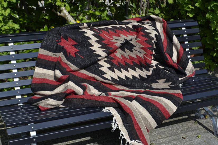 Mexikanische Decke -  Indianer - L - Schwartz  - EEEZZ1DGblackred