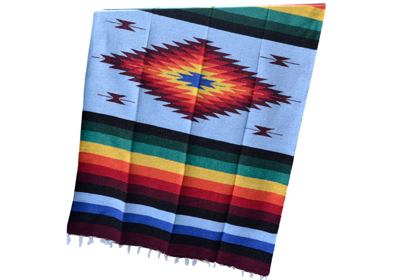 Mexican blanket - indian - L - Blue