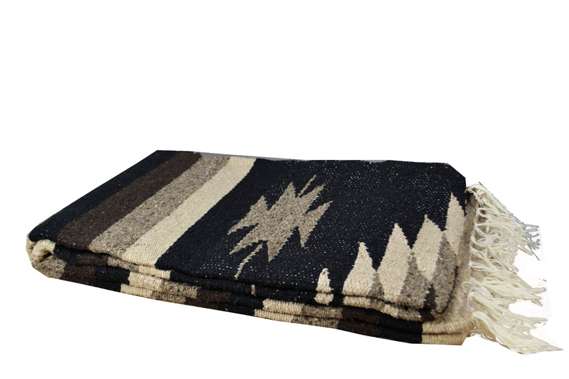 Mexican blanket - indian - L - Black