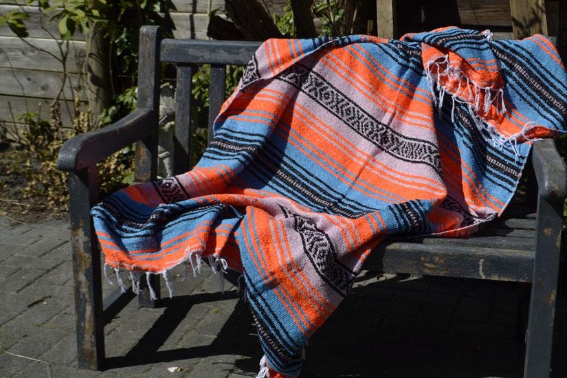 Mexikanische Decke -  Falsa - L - Orange  - MSXZZ0orangeblu