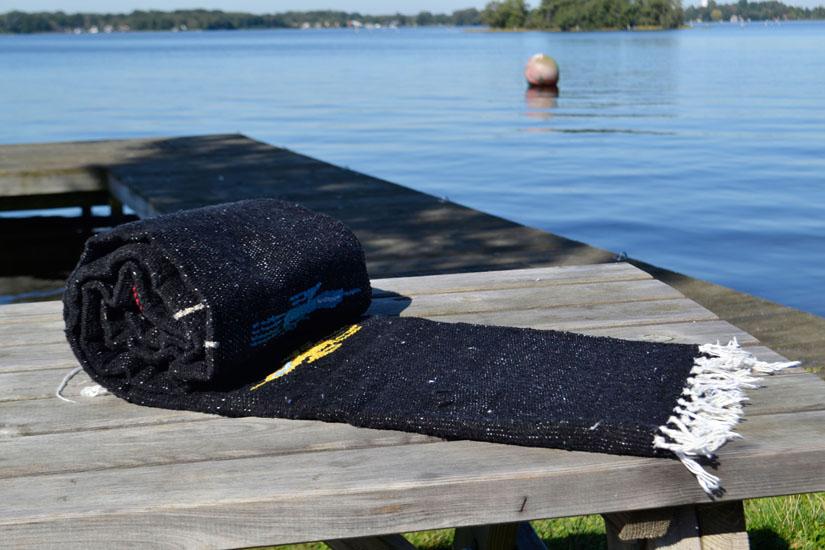 Mexicaanse deken - Effen - L - Zwart