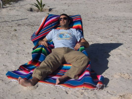 Mexican Serape blanket on the beach in Mexico