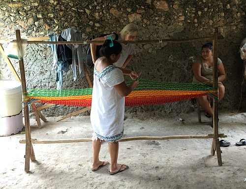 Henriette visiting weaver mexican hammock